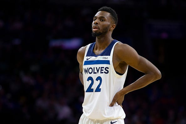 Andrew Wiggins reacts after a play with the Timberwolves