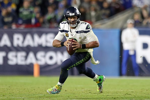 Russell Wilson looks to make a play for the Seahawks.