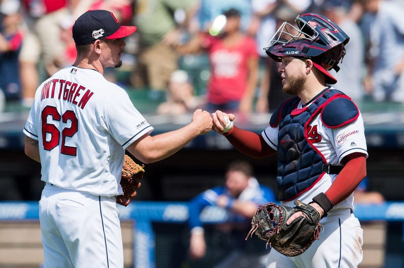 Indians reliever Nick Wittgren and catcher Roberto Perez