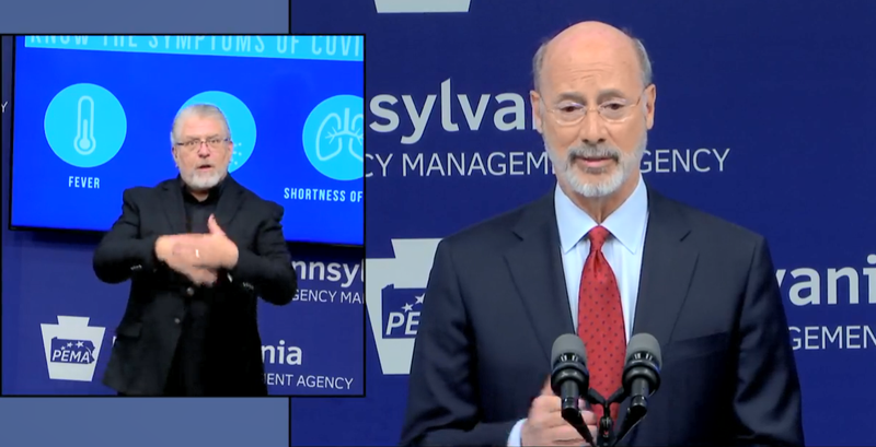 Gov. Tom Wolf answers questions during a coronavirus press conference