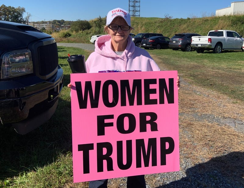 """Rose Glaser holds a """"Women for Trump"""" sign. She went to the """"Keep America Great"""" rally in Reading, Pa."""