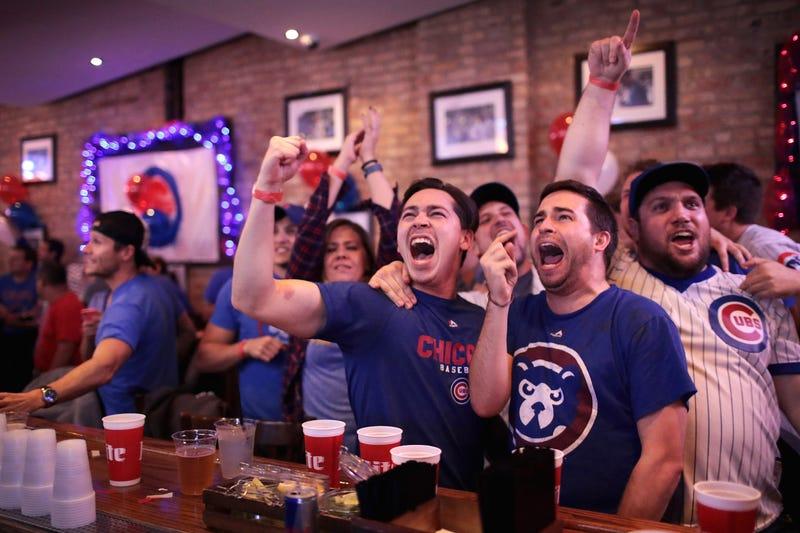 Cubs fans in a Wrigleyville bar