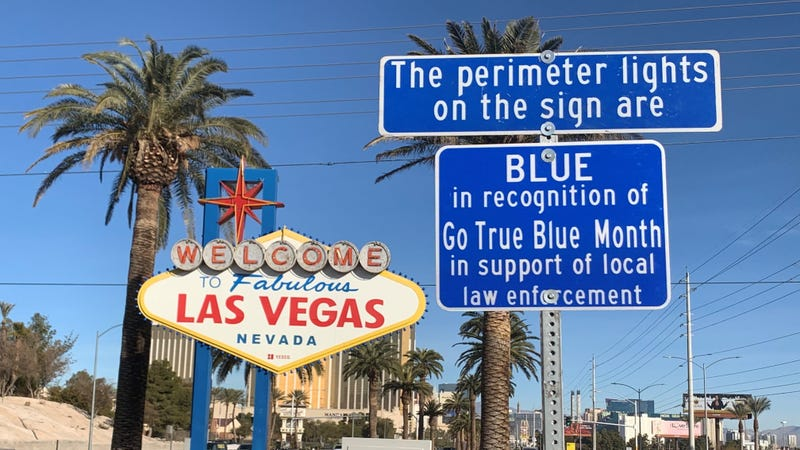 """Welcome Sign goes """"true blue"""" for law enforcement on 1-14-21"""