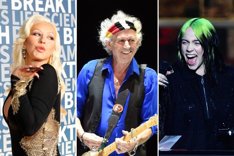 Christina Aguilera, Keith Richards, Billie Eilish