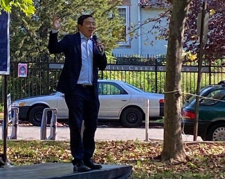 Andrew Yang rallies for Biden in Philly