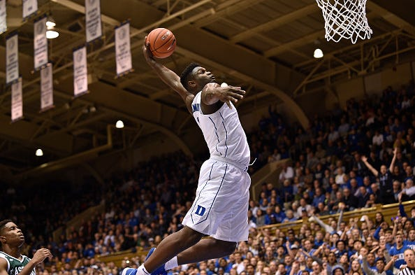 Zion Williamson of Duke throws down a dunk vs. Eastern Michigan.