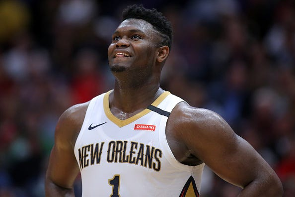 Zion Williamson looks up after a play against the Celtics.