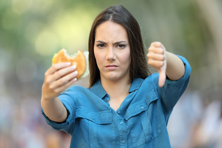 Angry Woman with Burger