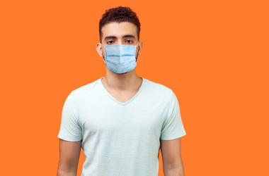 Sad Man Wearing Face Mask