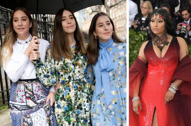 "Este Haim, Alana Haim, and Danielle Haim of HAIM arrive at the Erdem Autumn/Winter 2018 London Fashion Week show / icki Minaj. 2018 Metropolitan Museum of Art Costume Institute Gala: ""Heavenly Bodies: Fashion and the Catholic Imagination."