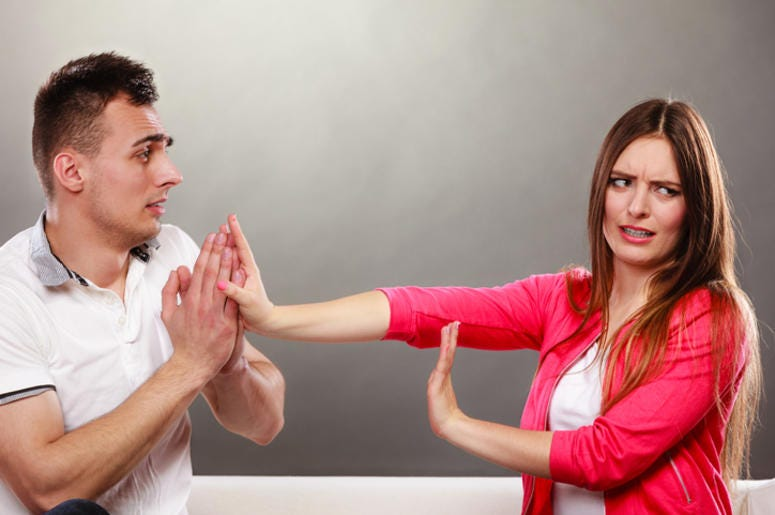 Man Confessing to Woman