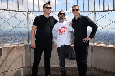 Blink-182 band members Mark Hoppus, Travis Barker and Matt Skiba