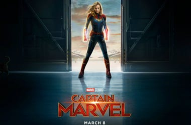 Movie poster for Marvel Studios' 'Captain Marvel' starring Brie Lason