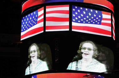 "The Philadelphia Flyers play Kate Smith's rendition of ""God Bless America"" during the Stanley Cup Finals against the Chicago Blackhawks."