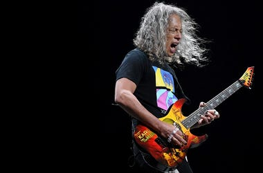 Guitarist Kirk Hammett of Metallica performs during a stop of the band's WorldWired Tour