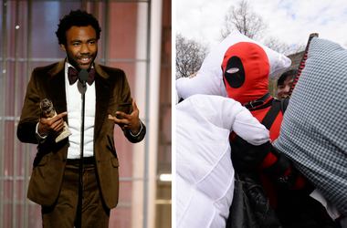 """Donald Glover wins best actor in a television series - musical or comedy during the 74th Golden Globe Awards / A man dressed as the comic character """"Deadpool"""" is pummeled during the 7th Annual International Pillow Fight Day"""