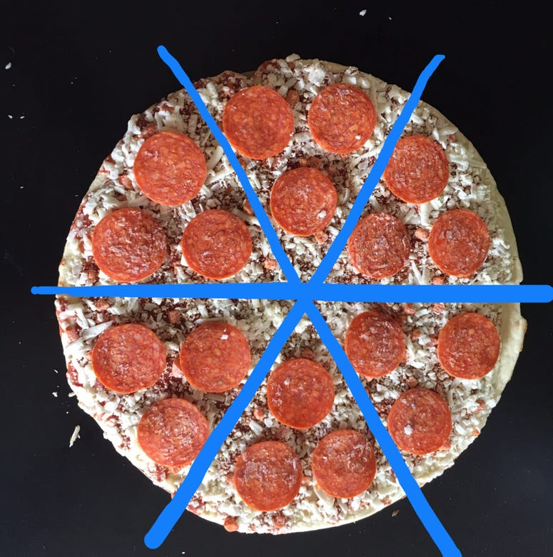 pizza with lines