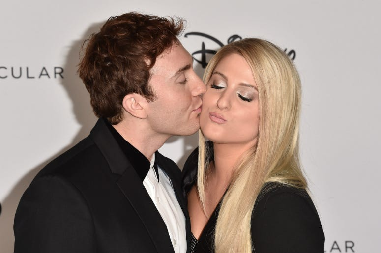 Daryl Sabara and Meghan Trainor attend Mickey's 90th Spectacular at The Shrine Auditorium on October 6, 2018