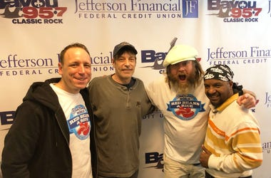 Joey Chestnut and Crazy Legs Conti with John Osterlind and Coleman in studio.