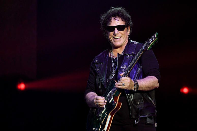 Guitarist Neal Schon of Journey performs during the first night of the band's second nine-show residency at The Joint inside the Hard Rock Hotel & Casino on May 3, 2017 in Las Vegas, Nevada.