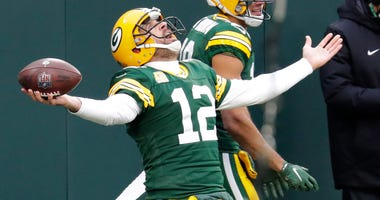 Green Bay Packers quarterback Aaron Rodgers (12) celebrates scoring a touchdown with wide receiver Equanimeous St. Brown (19) in the second quarter Sunday, Nov. 15, 2020, at Lambeau Field in Green Bay, Wis. Apc Packvsjaguars 1113200448