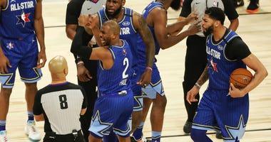 LeBron James Kawhi Leonard Chris Paul NBA All sTAR game