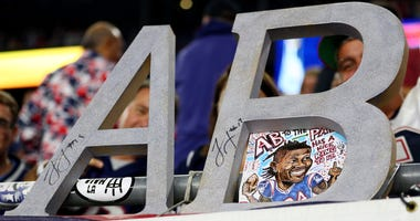 A detail of a sign for Antonio Brown (not pictured) during the game between the New England Patriots and the Pittsburgh Steelers at Gillette Stadium on September 08, 2019 in Foxborough, Massachusetts.