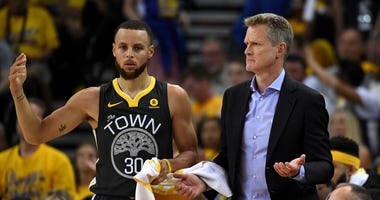 Steve Kerr Steph Curry Golden State Warriors NBA Finals