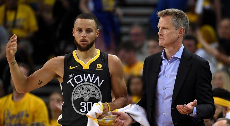 Steve Kerr Steph Curry Golden State Warriors NBA Finals