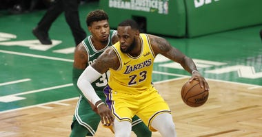 LeBron James Marcus Smart Los Angeles Lakers Boston Celtics