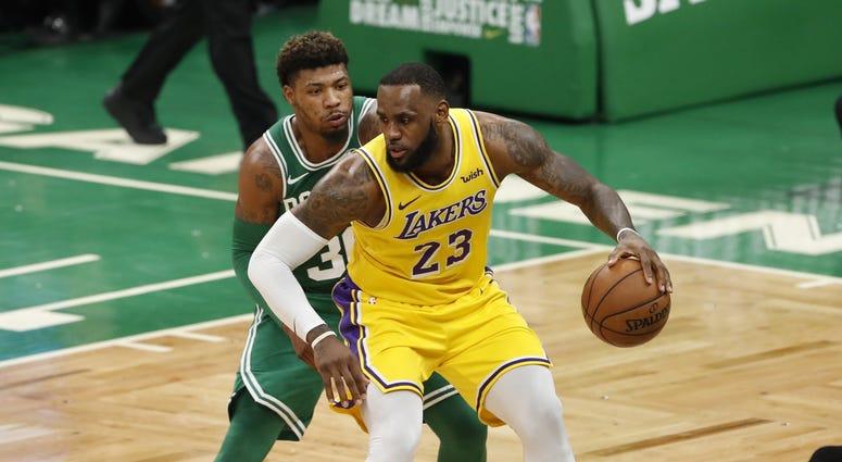 LeBron James Marcus Smart Los Angeles Lakers Boston Celtics