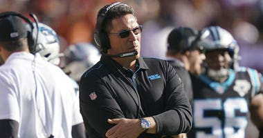 October 27, 2019; Santa Clara, CA, USA; Carolina Panthers head coach Ron Rivera during the third quarter against the San Francisco 49ers at Levi's Stadium.