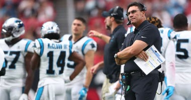 Sep 22, 2019; Glendale, AZ, USA; Carolina Panthers head coach Ron Rivera reacts against the Arizona Cardinals at State Farm Stadium