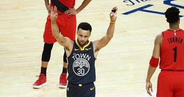Steph Curry Warriors Blazers NBA Playoffs