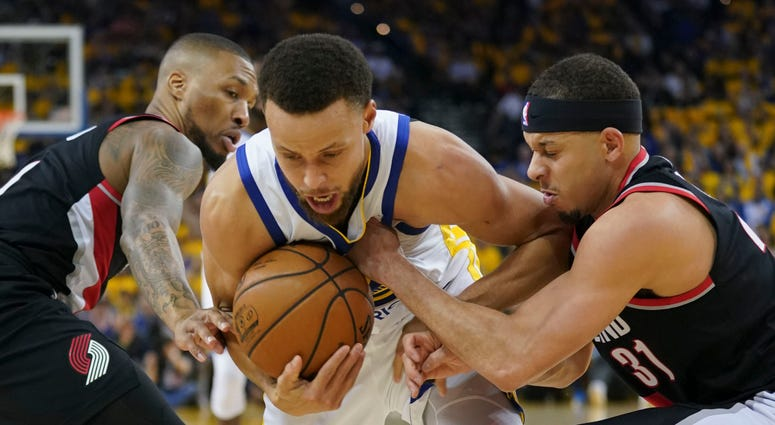 Steph Curry Seth Curry Warriors Trail Blazers NBA