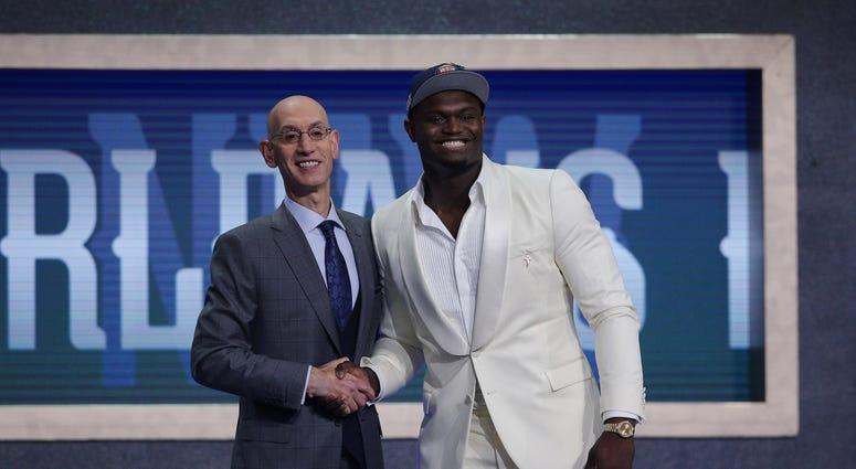 Zion Williamson Adam Silver NBA Draft