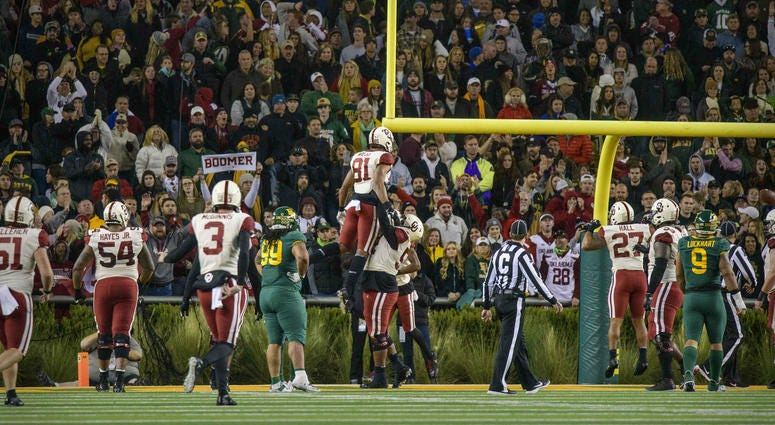 Nov 16, 2019; Waco, TX, USA; The Oklahoma Sooners celebrate the game tying touchdown by Oklahoma Sooners fullback Brayden Willis (81) against the Baylor Bears during the second half at McLane Stadium