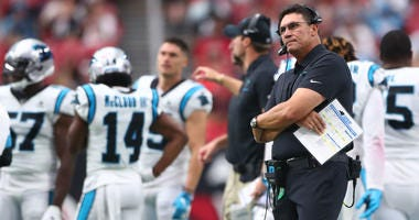 Sep 22, 2019; Glendale, AZ, USA; Carolina Panthers head coach Ron Rivera reacts against the Arizona Cardinals at State Farm Stadium