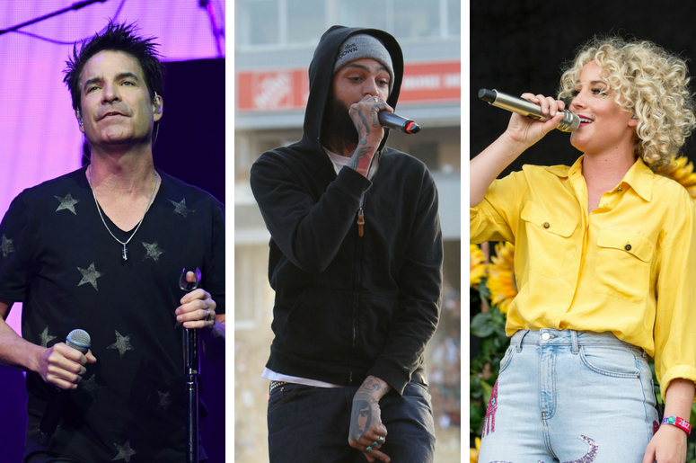June 24, 2018; Sunrise, FL, USA; Patrick Monahan of Train performs at BB&T Center. / 12 May April 2012 - Carson, California - Travie McCoy of Gym Class Heroes  /Cam (Camaron Marvel Ochs) during Bonnaroo Music and Arts Festival at Great Stage Park on June
