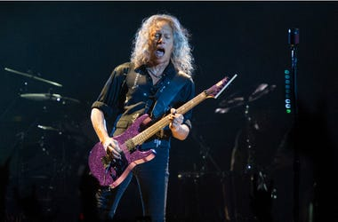 Kirk Hammett of Metallica performing live on stage at Genting Arena in Birmingham, UK