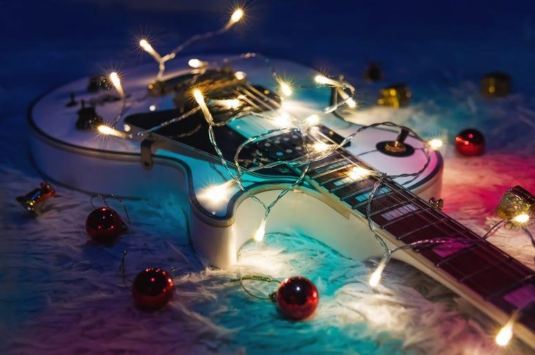 Christmas lights on guitar