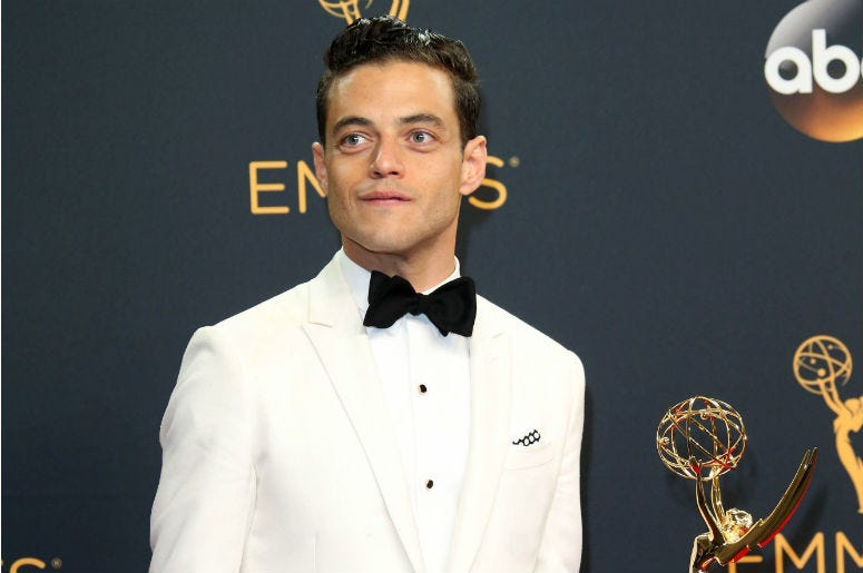 Rami Malek poses in the photo room with his award for Lead Actor in a Drama series during 68th Emmy Awards at the Microsoft Theater