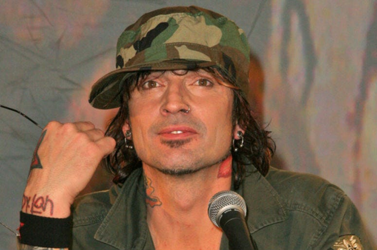 Tommy Lee at the announcement that all the original members of Motley Crue reunite for the Red, White & Crue Tour 2005... Better Live Than Dead. Motley Crue also perform a mini concert for lucky fans at The Palladium, Hollywood, CA. 12-06-04