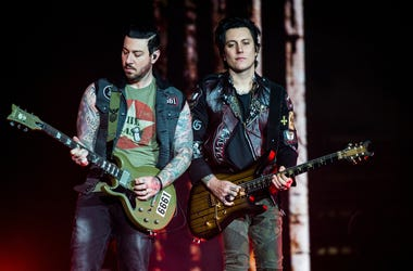 Zacky Vengeance and Synyster Gates of Avenged Sevenfold perform during Avenged Sevenfold's The Stage World Tour