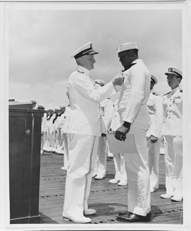Nimitz Awards Miller the Navy Cross