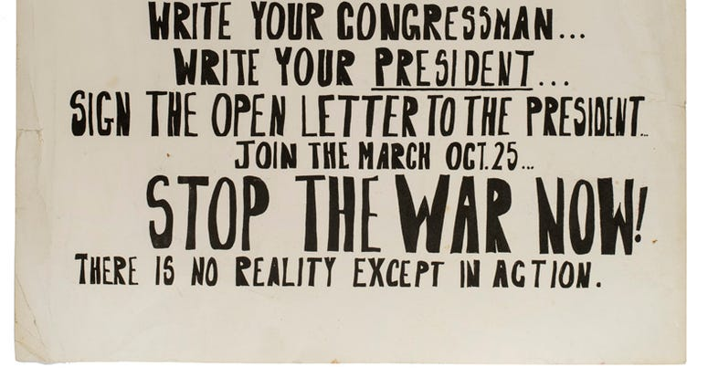 One of many peace protest signs from the growing anti-war movement in the 1960s