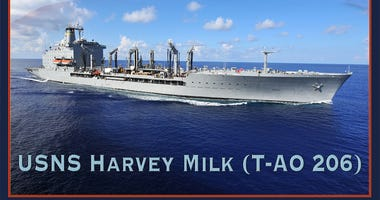 A photo illustration announcing that Military Sealift Command fleet oiler, T-AO 206, will be named USNS Harvey Milk.