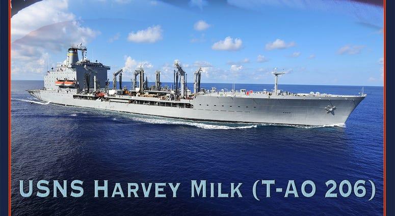 A photo illustration announcing that Military Sealift Command fleet oiler, T-AO 206, will be named USNS Harvey Milk.