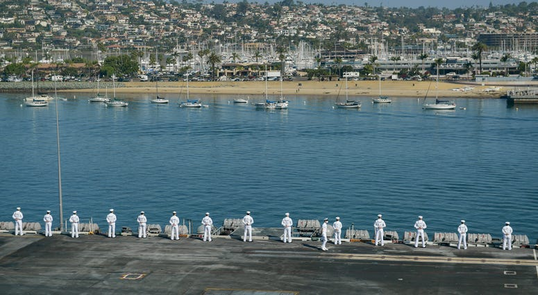 Sailors man the rails as the aircraft carrier USS Theodore Roosevelt (CVN 71) approaches Naval Air Station North Island