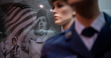Artifacts from the Women in the Air Force gallery are displayed in the U.S. Air Force Airman Heritage Training Complex